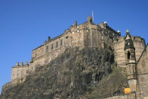 Edinburgh Castle perched on Castle Rock